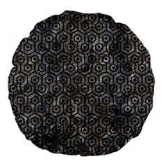 Hexagon1 Black Marble & Gray Stone (r) Large 18  Premium Flano Round Cushions by trendistuff