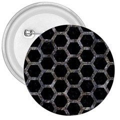 Hexagon2 Black Marble & Gray Stone 3  Buttons by trendistuff