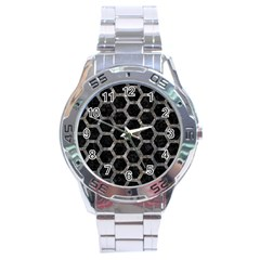 Hexagon2 Black Marble & Gray Stone Stainless Steel Analogue Watch by trendistuff