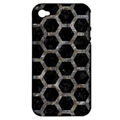 Hexagon2 Black Marble & Gray Stone Apple Iphone 4/4s Hardshell Case (pc+silicone) by trendistuff