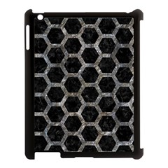 Hexagon2 Black Marble & Gray Stone Apple Ipad 3/4 Case (black) by trendistuff