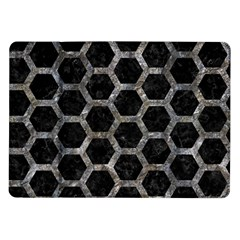 Hexagon2 Black Marble & Gray Stone Samsung Galaxy Tab 10 1  P7500 Flip Case by trendistuff