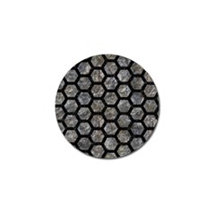 Hexagon2 Black Marble & Gray Stone (r) Golf Ball Marker (10 Pack) by trendistuff