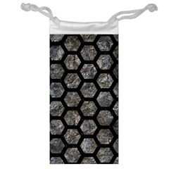 Hexagon2 Black Marble & Gray Stone (r) Jewelry Bag by trendistuff