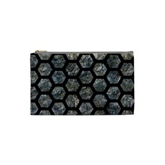Hexagon2 Black Marble & Gray Stone (r) Cosmetic Bag (small)  by trendistuff