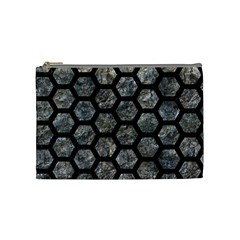 Hexagon2 Black Marble & Gray Stone (r) Cosmetic Bag (medium)  by trendistuff