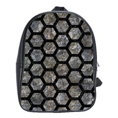Hexagon2 Black Marble & Gray Stone (r) School Bag (large) by trendistuff