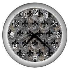 Royal1 Black Marble & Gray Stone Wall Clocks (silver)  by trendistuff