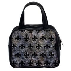 Royal1 Black Marble & Gray Stone Classic Handbags (2 Sides)