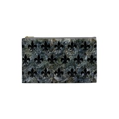 Royal1 Black Marble & Gray Stone Cosmetic Bag (small)  by trendistuff