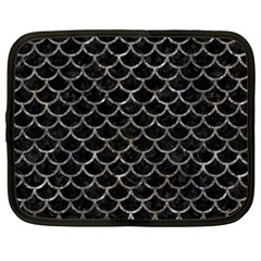 Scales1 Black Marble & Gray Stone Netbook Case (large) by trendistuff