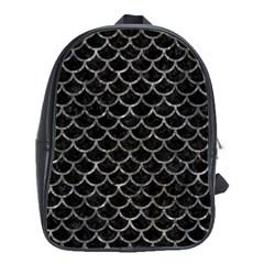 Scales1 Black Marble & Gray Stone School Bag (large) by trendistuff