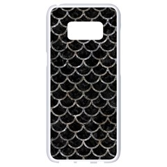 Scales1 Black Marble & Gray Stone Samsung Galaxy S8 White Seamless Case by trendistuff