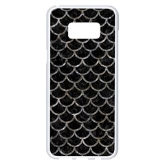 Scales1 Black Marble & Gray Stone Samsung Galaxy S8 Plus White Seamless Case by trendistuff
