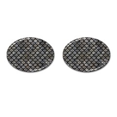 Scales1 Black Marble & Gray Stone (r) Cufflinks (oval) by trendistuff