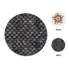 Scales1 Black Marble & Gray Stone (r) Playing Cards (round)  by trendistuff