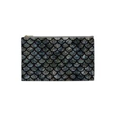 Scales1 Black Marble & Gray Stone (r) Cosmetic Bag (small)  by trendistuff