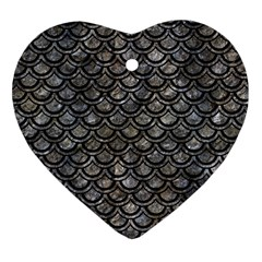 Scales2 Black Marble & Gray Stone (r) Heart Ornament (two Sides) by trendistuff