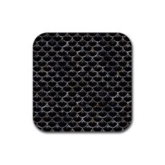 Scales3 Black Marble & Gray Stone Rubber Square Coaster (4 Pack)  by trendistuff