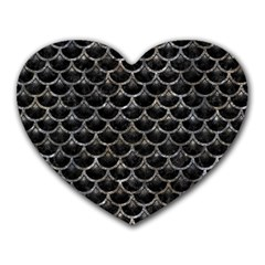 Scales3 Black Marble & Gray Stone Heart Mousepads by trendistuff