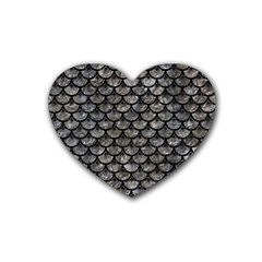 Scales3 Black Marble & Gray Stone (r) Rubber Coaster (heart)  by trendistuff