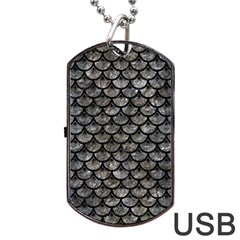 Scales3 Black Marble & Gray Stone (r) Dog Tag Usb Flash (two Sides) by trendistuff