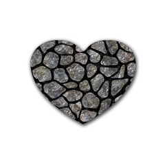Skin1 Black Marble & Gray Stone Rubber Coaster (heart)  by trendistuff