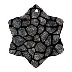 Skin1 Black Marble & Gray Stone Snowflake Ornament (two Sides)