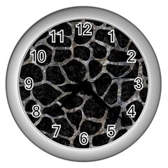 Skin1 Black Marble & Gray Stone (r) Wall Clocks (silver)  by trendistuff