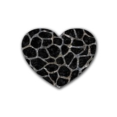 Skin1 Black Marble & Gray Stone (r) Rubber Coaster (heart)