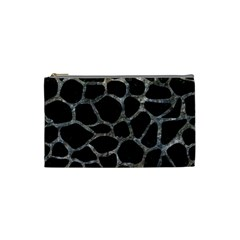 Skin1 Black Marble & Gray Stone (r) Cosmetic Bag (small)  by trendistuff