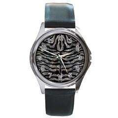 Skin2 Black Marble & Gray Stone (r) Round Metal Watch by trendistuff