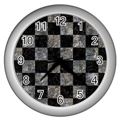 Square1 Black Marble & Gray Stone Wall Clocks (silver)  by trendistuff