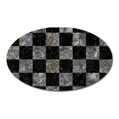 Square1 Black Marble & Gray Stone Oval Magnet by trendistuff