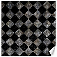 Square2 Black Marble & Gray Stone Canvas 12  X 12   by trendistuff