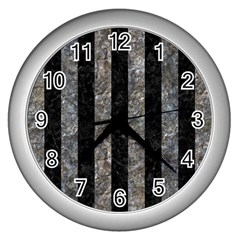 Stripes1 Black Marble & Gray Stone Wall Clocks (silver)  by trendistuff