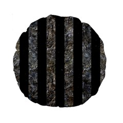 Stripes1 Black Marble & Gray Stone Standard 15  Premium Round Cushions by trendistuff