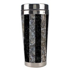 Stripes1 Black Marble & Gray Stone Stainless Steel Travel Tumblers by trendistuff