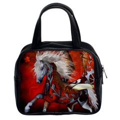 Awesome Steampunk Horse With Wings Classic Handbags (2 Sides) by FantasyWorld7