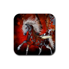 Awesome Steampunk Horse With Wings Rubber Square Coaster (4 Pack)