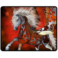 Awesome Steampunk Horse With Wings Fleece Blanket (medium)  by FantasyWorld7