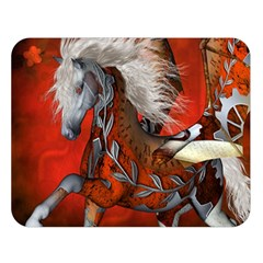 Awesome Steampunk Horse With Wings Double Sided Flano Blanket (large)  by FantasyWorld7