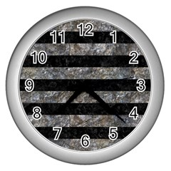 Stripes2 Black Marble & Gray Stone Wall Clocks (silver)  by trendistuff