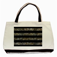 Stripes2 Black Marble & Gray Stone Basic Tote Bag (two Sides) by trendistuff