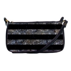 Stripes2 Black Marble & Gray Stone Shoulder Clutch Bags by trendistuff