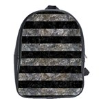 STRIPES2 BLACK MARBLE & GRAY STONE School Bag (XL) Front
