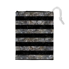 Stripes2 Black Marble & Gray Stone Drawstring Pouches (large)  by trendistuff