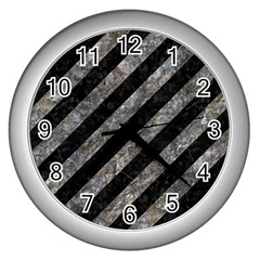 Stripes3 Black Marble & Gray Stone Wall Clocks (silver)  by trendistuff