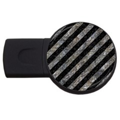 Stripes3 Black Marble & Gray Stone Usb Flash Drive Round (2 Gb) by trendistuff