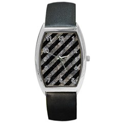 Stripes3 Black Marble & Gray Stone Barrel Style Metal Watch by trendistuff